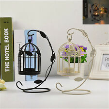 Bird Cage Style Leaves Pattern Iron Hollow Candle Holder Tealight Candlestick