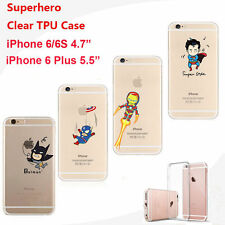 Cartoon Superhero Soft Gel Jelly Clear Skin Case Cover For iPhone 6 6S 7 Plus
