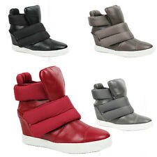 WOMENS LADIES CHUNKY SOLE WEDGE HIGH TOP SNEAKERS TRAINERS BOOTS SHOES SIZE 3-8
