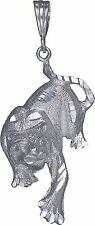 Sterling Silver Panther Charm Pendant Necklace Diamond Cut Finish with Chain