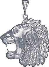 Sterling Silver Lion Pendant Necklace Diamond Cut Finish 2.87 Inhces 25.3 Grmas