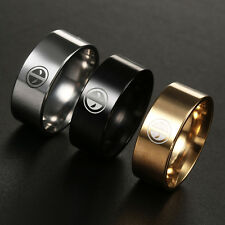 Dead Pool Titanium Stainless Steel Wide Band Ring Men Women  Wedding Size 6-13
