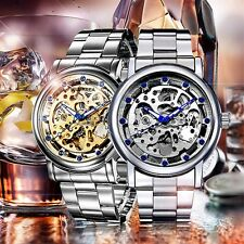 Luxury Blue Crystal Mechanical Skeleton Watches men Stainless Steel Wrist Watch