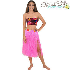 Pink Hula Grass Skirt & Boob Tube Set Hawaiian Fancy Dress