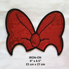 Mickey Mouse Bow Knot Tie Red Sequins Embroidered Iron-on Emblem Patch Applique