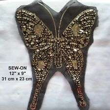 XXL Black Gold Butterfly Lace Sequin Embroidery Neckline Collar Patch Applique
