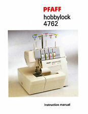 PFAFF Hobbylock 4762 4772 * Instruction manual or Service / Parts List on CD