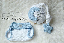 White Moon & Star crochet baby Photo Prop Hat & Diaper Cover Set 100% Cotton