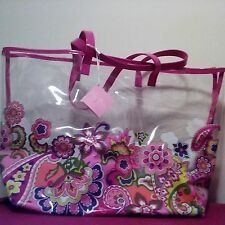VERA BRADLEY CLEARLY COLORFUL TOTE/THROW BLANKET  Pink Swirls