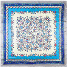"Women's Cute Blue Flower Print Scarf Silk-Satin Square Head Shawl Scarves35""*35"""