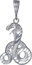 Sterling Silver Cobra Snake Charm Pendant Necklace Diamond Cut Finish with Chain