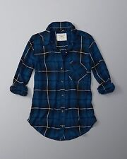 WOMENS ABERCROMBIE & FITCH SIZE SMALL DRAPEY PLAID BUTTON UP SHIRT BLUE NWT