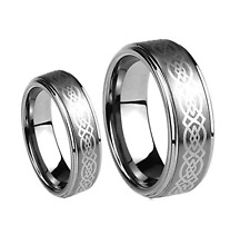 8MM Men or 6MM Ladies Silver Celtic Knot Tungsten Carbide Wedding Band Ring Set