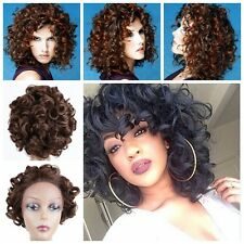 Lace Front Synthetic Wig Heat Resitant Fiber Spiral Curl Black and Brown Color