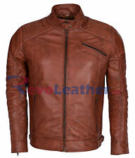Premium Mens Brown Padded Waxed Biker Real Leather Motorcycle Jacket