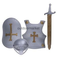 Boys Kids Medieval Knight Armour Sword Shield Fancy Dress Party Toy Costume