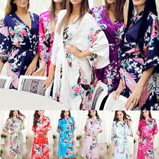 Chinese Bridesmaid Peacock Long Kimono Robe Wedding Women Satin Silk Sleepwear
