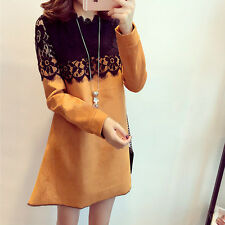 Women's Korean Style Fashion Lace Hook Top Swing Round Dress Skirt 4 Color S-XL