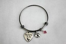 Mommy To Be Adjustable Bangle Charm Bracelet With Baby Feet Charm and Birthstone