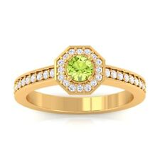 Green Peridot EF VVS Gemstone Diamond Engagement Ring Women 18K Yellow Gold