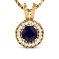 Blue Sapphire EF VVS Diamond Round Halo Gemstone Pendant Women 18K Yellow Gold