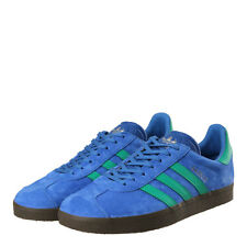 New Mens adidas  Gazelle Trainers - Blue / Green Suede