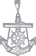 Sterling Silver Anchor Cross Pendant Necklace Diamond Cut Finish 24 Inch Chain