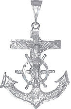 Sterling Silver Anchor Cross with Jesus Pendant Necklace with 24 inch Chain