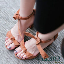Womens Suede Leather Ankle Strap Roman Gladiator Sandals Platform High Heels New