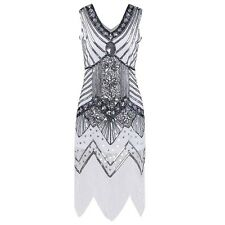 Women Ladies Sexy V Neck Sleeveless Sequined Bodycon Dance Party Evening Dress