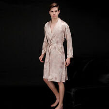 Fashion New Mens Satin Silk Pajamas Kimono Robe Gown Loungewear Sleeping Wear