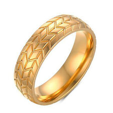 6mm Men&Women Band Ring Wedding 316L Stainless Steel Engagement Gold Size 7-12