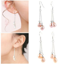 Hot Fashion 6-7mm Genuine Natural Freshwater Pearl Real Silver Dangle Earrings