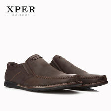 Mens Loafers Flats Moccasins Men Shoes Slip-on Breathable Casual Round Toe Brown