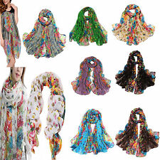 Womens Large Summer Floral Chiffon Oversized Long Wrap Thin Style Scarf