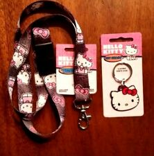 Hello Kitty LANYARD + Face keychain Black Hello Kitty BREAKAWAY Authentic SANRIO