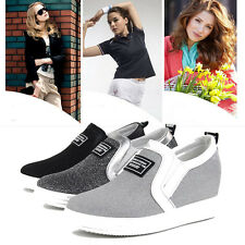 Fashion Korean Women's Canvas Sneakers Casual Flats Oxfords Loafer Slip On Shoes