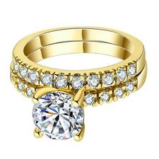 Luxury Women Wedding Party Rings Gold Plated Crystal Rhinestone Ring Size 6/7/8