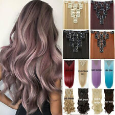 Women 100% Natural Clip in on Hair Extensions 8Pcs 8 Pieces Full Head Long New