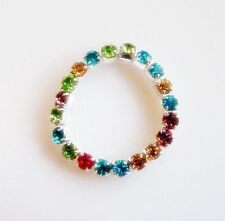 12 x Finger / Toe Rings 3mm Multi-coloured Crystal Rhinestone stretchy  RESELL