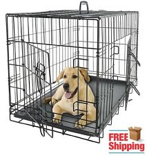 Folding Dog Pet Crate Cage Kennel House Pan Black Travel Heavy Duty Home 4 Size