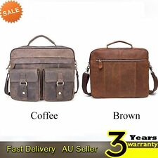 Men's Retro Real Genuine Leather Messenger Shoulder Bag Satchel Laptop Briefcase