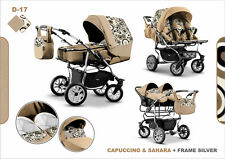Pram Twin Child Stroller Double Pushchair NEW  Colors - Swivel Wheels+2xCar Seat