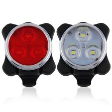 Bicycle Bike 3 LED 4 Modes Head Front Rear Tail Light Lamp USB Rechargeable BT