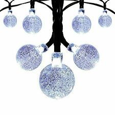 Solar String Fairy Lights White Crystal Ball 19.7 ft 30 LED Outdoor Garden Party