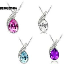 Fashion 18K GP crystal necklace pendant options 4colour B0N02