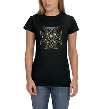 Iron Cross Skull & Chain Motorcycle Chopper Biker Women's T-Shirt Tee