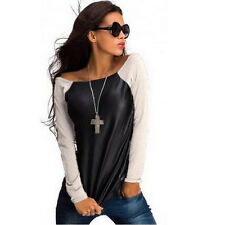 Women's PU Leather Patchwork Crew-Neck Raglan Long Sleeve TEE T-Shirt Tops