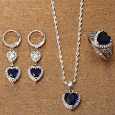 Heart Tanzanite Jewelry Set Fashion Women 925 Silver Necklace Drop Earrings Ring