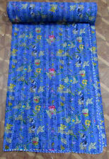 BEDSPREAD RALLI QUILT BLUE INDIAN IKAT KANTH  QUILT QUEEN THROW KANTHA BED COVER